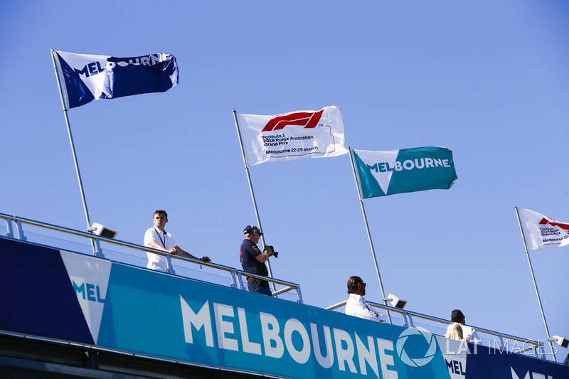 Melbourne and F1 flags fly at the circuit