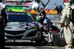 #86 Michael Shank Racing with Curb-Agajanian Acura NSX, GTD: Katherine Legge, Alvaro Parente, Trent Hindman pit stop