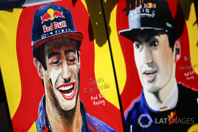 A fan's paintings of Daniel Ricciardo, Red Bull Racing, and Max Verstappen, Red Bull Racing