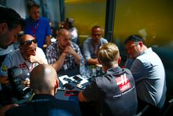 Kevin Magnussen, Haas F1 Team, talks to the media, including Ben Edwards
