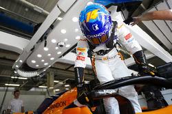 Fernando Alonso, McLaren MCL33, enters his cockpit