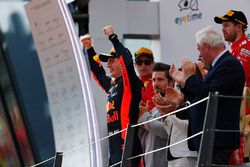 Max Verstappen, Red Bull Racing, celebrates on the podium, along with second place Kimi Raikkonen, Ferrari, and third place Sebastian Vettel, Ferrari