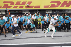 Valtteri Bottas, Mercedes AMG F1, race winner Lewis Hamilton, Mercedes AMG F1, and the Mercedes team celebrate victory