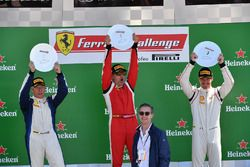 Mark Fuller, Scuderia Corsa - Ferrari Westlake, Michael Fassbender, Ferrari North America and Thomas Tippl, Scuderia Corsa - Ferrari of Beverly Hills celebrate on the podium