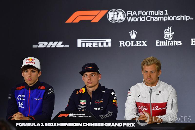Pierre Gasly, Scuderia Toro Rosso, Max Verstappen, Red Bull Racing et Marcus Ericsson, Sauber, en conférence de presse