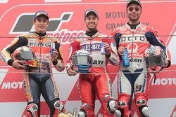 Podium: race winner Andrea Dovizioso, Ducati Team, second place Marc Marquez, Repsol Honda Team, third place Danilo Petrucci, Pramac Racing