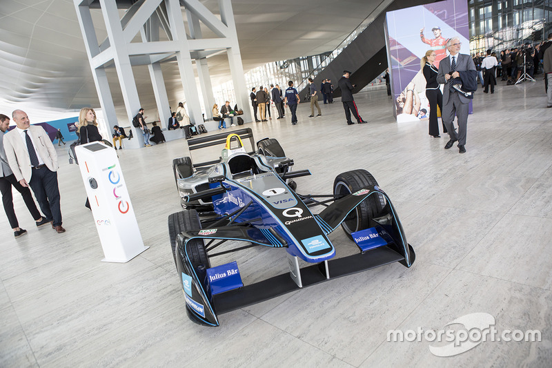 A Formula E car on display in Rome