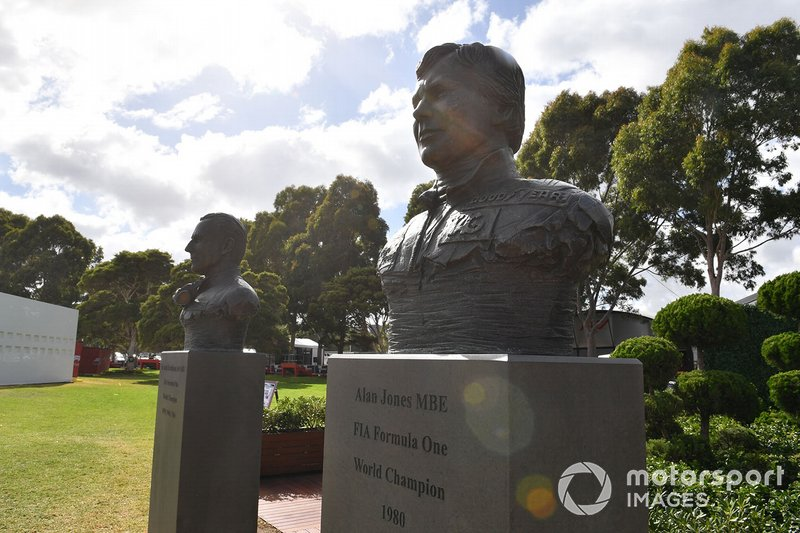 Busts of Australian Formula 1 World Champions Sir Jack Brabham and Alan Jones