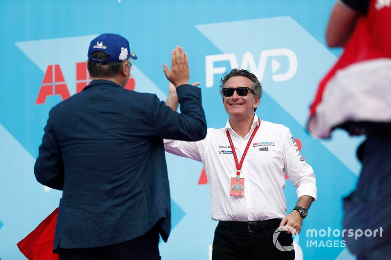 Alejandro Agag, CEO, Formula E, on the podium