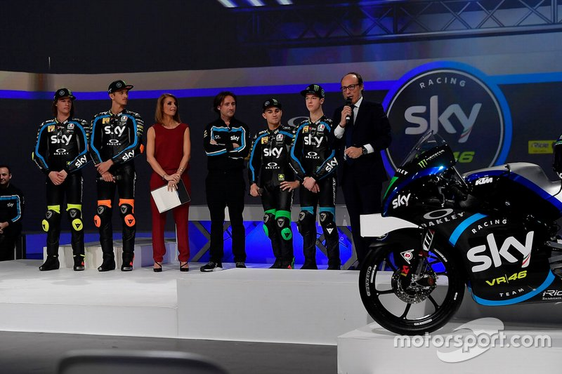 Nicolò Bulega, Luca Marini, Celestino Vietti, Dennis Foggia, Sky Racing Team VR46, Pablo Nieto Team Manager Sky Racing Team VR46