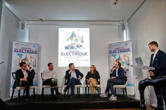 Jerome Hiquet, Formula E Chief marketing Officer, Jean-Eric Vergne, DS TECHEETAH, Alejandro Agag, CEO, Formula E