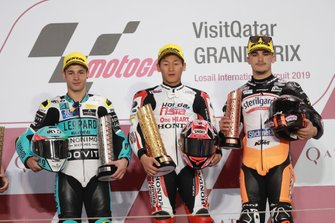 Podium: second place Lorenzo Dalla Porta, Leopard Racing, Race winner Kaito Toba, Honda Team Asia, third place Aron Canet, Max Racing Team