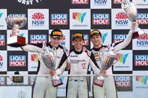 Podium: race winners Dirk Werner, Dennis Olsen, Matt Campbell, EBM Porsche