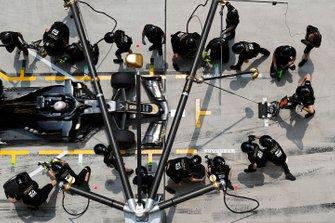 Romain Grosjean, Haas F1 Team VF-19, makes a stop during practice