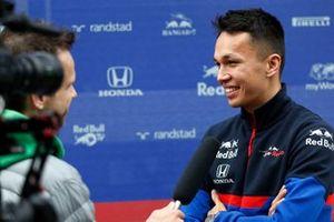 Alex Albon, Scuderia Toro Rosso talks with the media