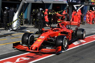 Charles Leclerc, Ferrari SF90, leaves his pit box after a stop