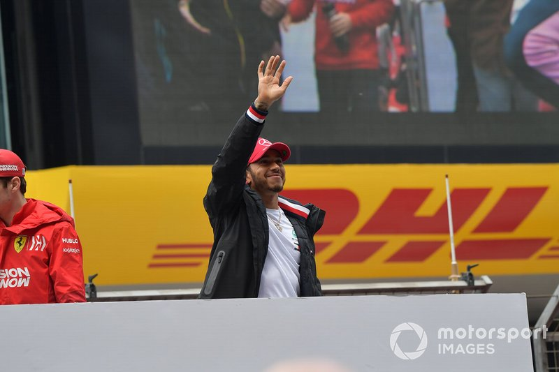 Lewis Hamilton, Mercedes AMG F1, waves to fans