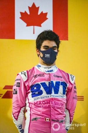 Lance Stroll, Racing Point, 3rd position, on the podium