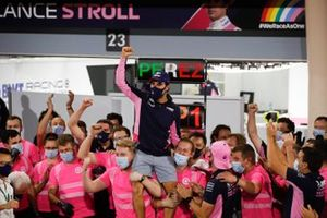 Sergio Perez, Racing Point, 1st position, celebrates with his team