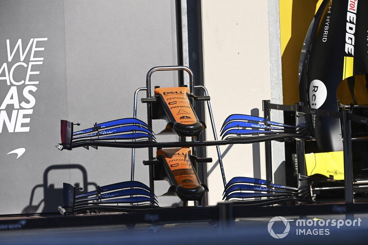 El alerón delantero del McLaren MCL35