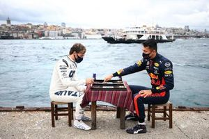 Pierre Gasly, Alpha Tauri and Alex Albon, Red Bull Racing