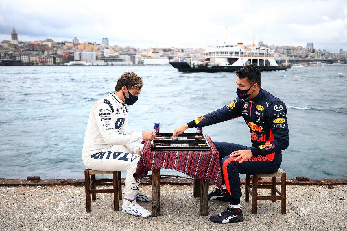 Pierre Gasly, Alpha Tauri en Alex Albon, Red Bull Racing