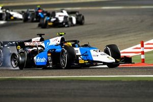 Lirim Zendeli, MP Motorsport, leads Christian Lundgaard, ART Grand Prix, with a puncture