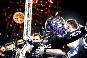 Lewis Hamilton, Mercedes, 1st position, celebrates with his team in Parc Ferme