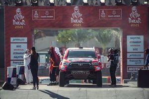 Toyota Gazoo Racing at the finish podium