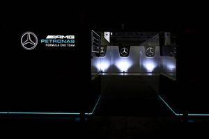 The Mercedes-AMG F1 motorhome lit up