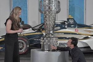 Michelle Collins, global director of BorgWarner Inc. and Takuma Sato, Rahal Letterman Lanigan
