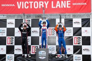 Will Power, Team Penske Chevrolet, Alex Palou, Chip Ganassi Racing Honda, Scott Dixon, Chip Ganassi Racing Honda, Scott Dixon, Chip Ganassi Racing Honda, podium