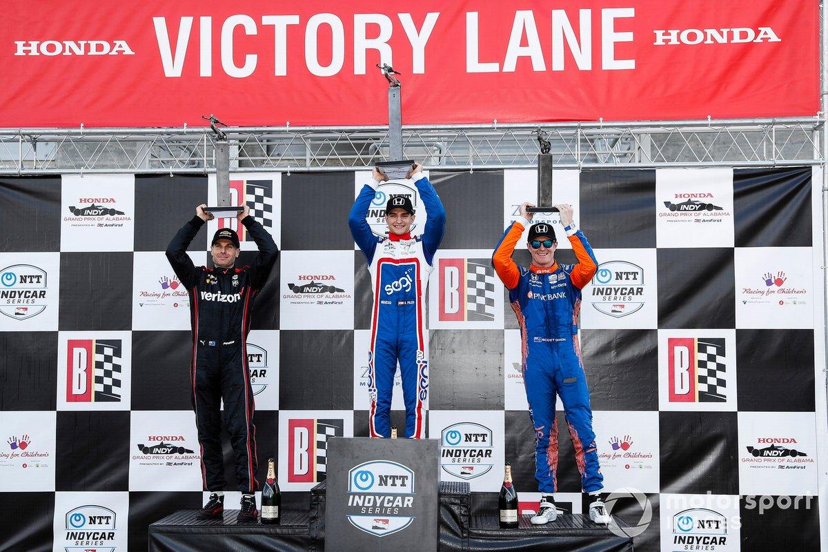 Will Power, Team Penske Chevrolet, Alex Palou, Chip Ganassi Racing Honda, Scott Dixon, Chip Ganassi Racing Honda, Scott Dixon, Chip Ganassi Racing Honda, podio