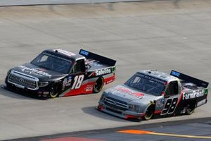 Christian Eckes, Kyle Busch Motorsports, Toyota Tundra Safelite AutoGlass, Grant Enfinger, ThorSport Racing, Ford F-150 Farm Paint/Curb Records