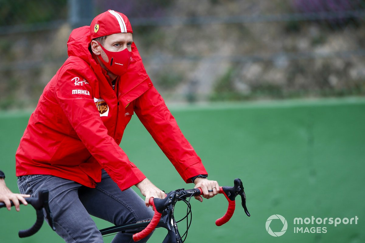 Sebastian Vettel, Ferrari, cycles the track