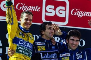 Podium: Race winner Michael Schumacher, Benetton, second place Alain Prost, Williams, third place Damon Hill, Williams