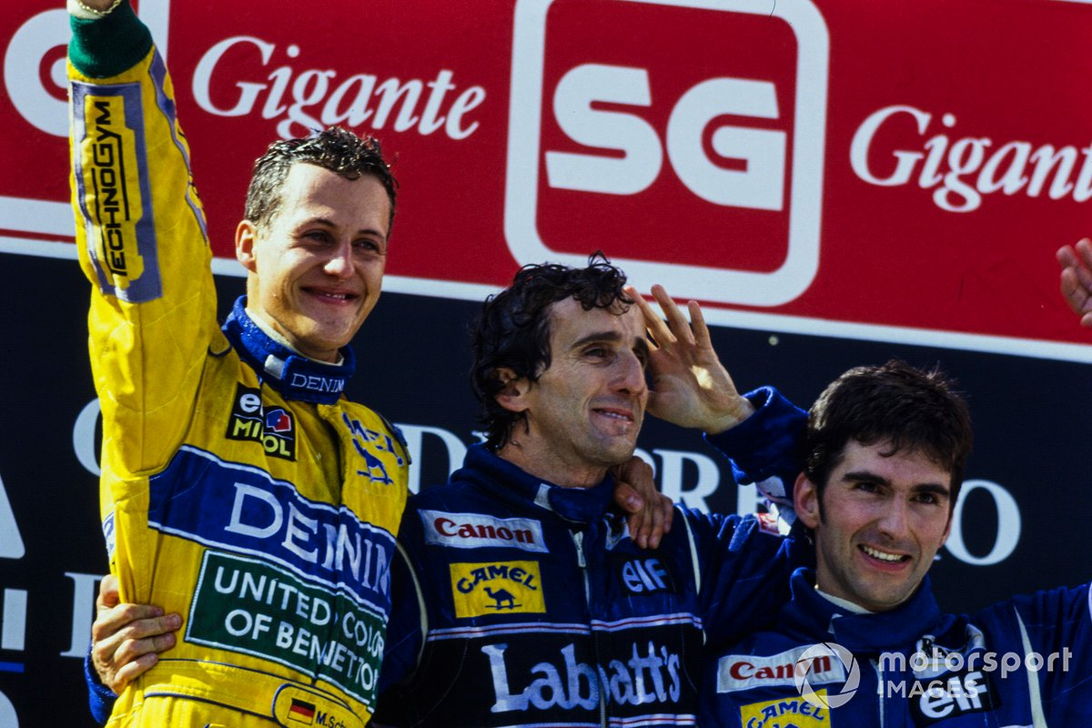 1993: el ganador Michael Schumacher, Benetton, segundo lugar Alain Prost, Williams, tercer clasificado Damon Hill, Williams
