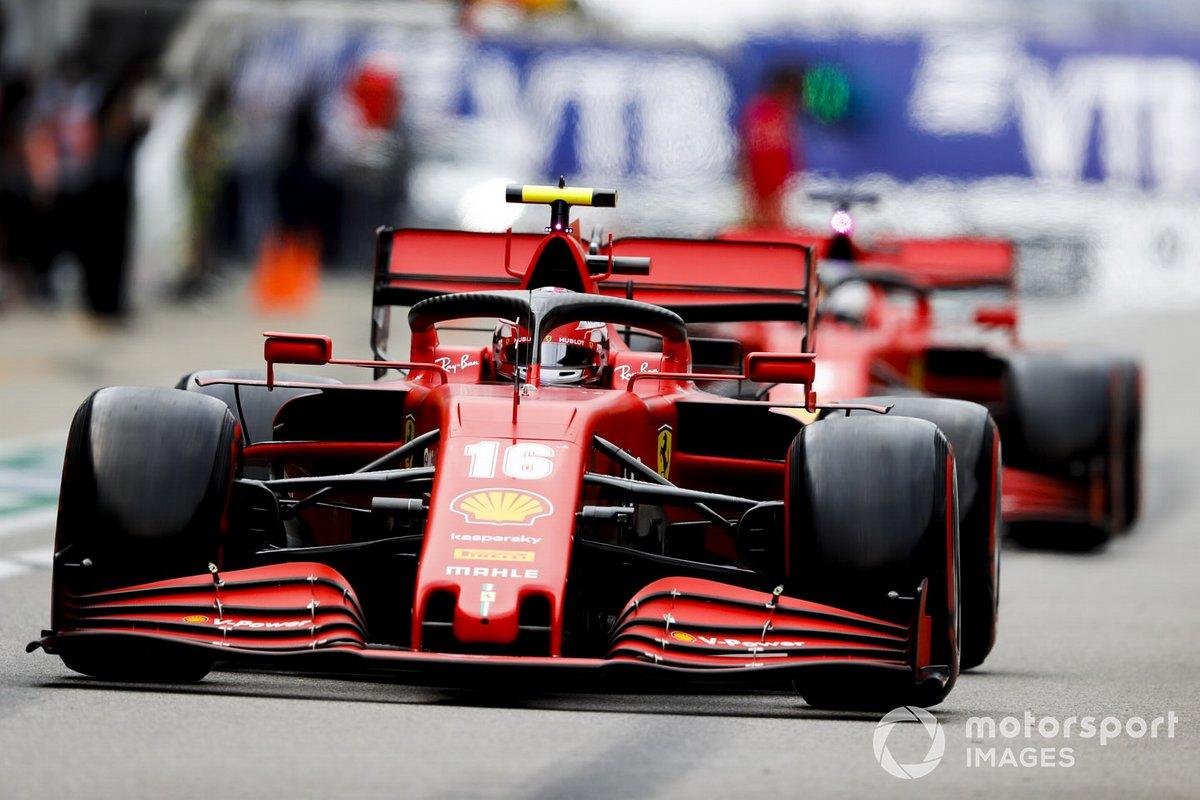 Charles Leclerc, Ferrari SF1000, Sebastian Vettel, Ferrari SF1000, in pit lane