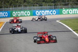 Sebastian Vettel, Ferrari SF1000, Kimi Raikkonen, Alfa Romeo Racing C39, Charles Leclerc, Ferrari SF1000, and Romain Grosjean, Haas VF-20