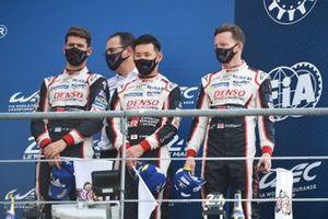 Third place #7 Toyota Gazoo Racing Toyota TS050: Mike Conway, Kamui Kobayashi, Jose Maria Lopez, and team boss Rob Leupen
