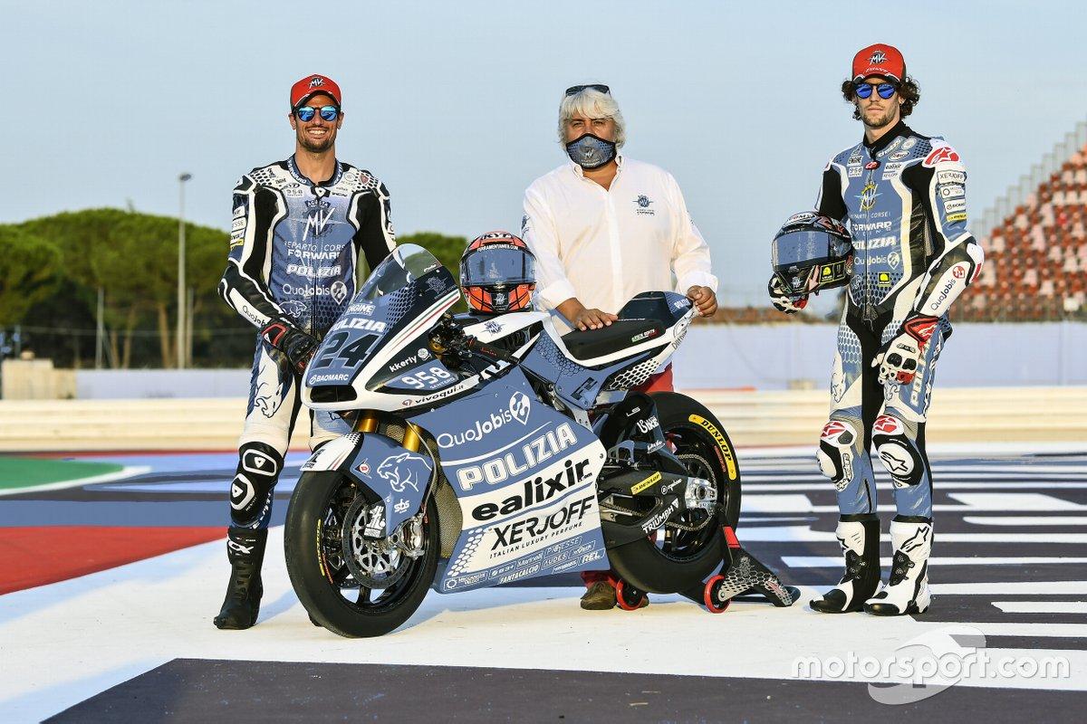 Stefano Manzi y Simone Corsi, decoración especial de la moto Forward Racing para Misano
