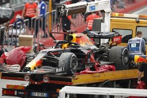 The car of Max Verstappen, Red Bull Racing RB16, is returned to the pits on a truck after the race
