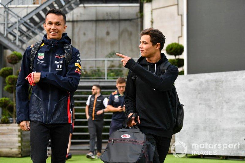 Alexander Albon, Red Bull, and Lando Norris, McLaren