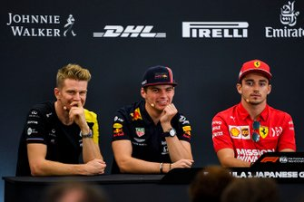 Nico Hulkenberg, Renault F1 Team, Max Verstappen, Red Bull Racing e Charles Leclerc, Ferrari in conferenza stampa