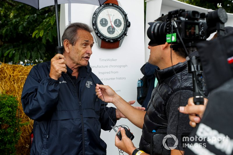 Jacky Ickx speaks with the media