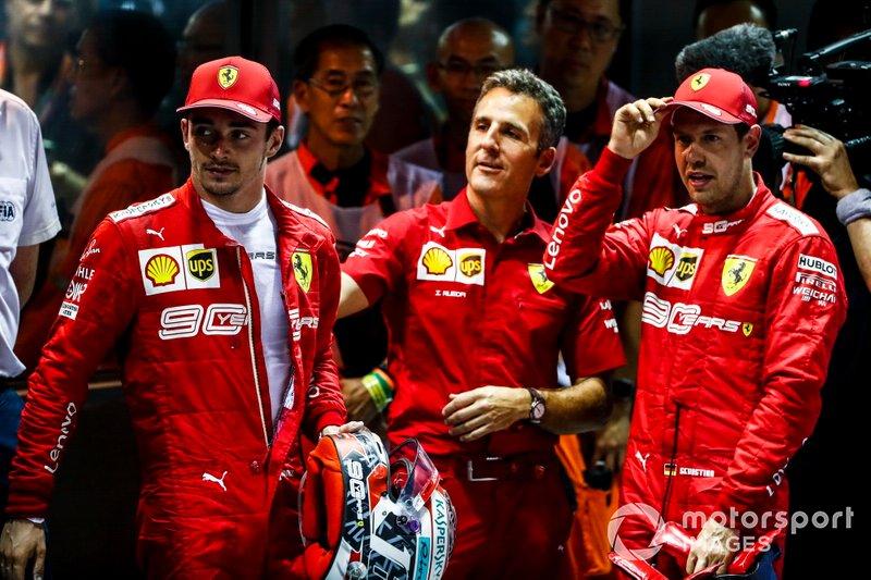 Победитель Себастьян Феттель, второе место – Шарль Леклер, Ferrari