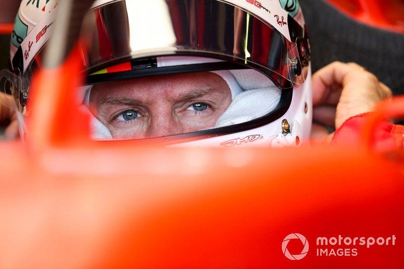 Sebastian Vettel, Ferrari, nell'abitacolo della sua monoposto