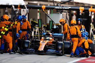 Lando Norris, McLaren MCL34, leaves his pit box after a stop