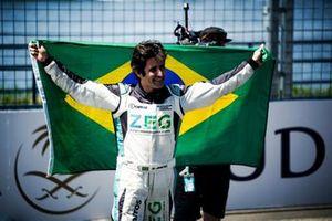 Race winner Sérgio Jimenez, Jaguar Brazil Racing celebrates in parc ferme