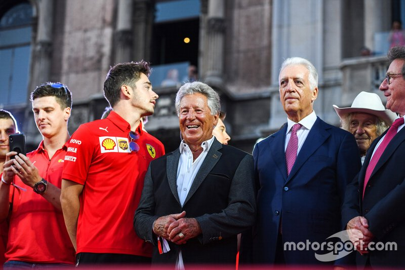 Charles Leclerc, Ferrari, Mario Andretti, and Piero Lardi Ferrari